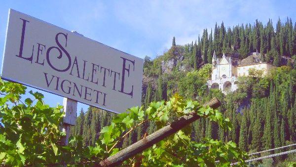 "A sign showing ""LeSalette Vigneti"", producers Amarone Della Valpolicella Classico DOCG Pergole Vece 2016 and View of the chateau on the side of a mountain."