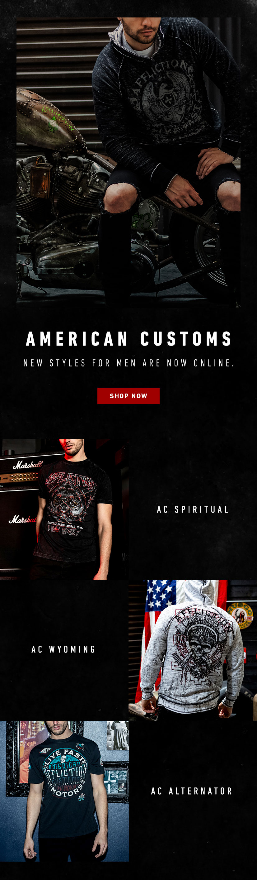 American Customs new styles fro men are now online.