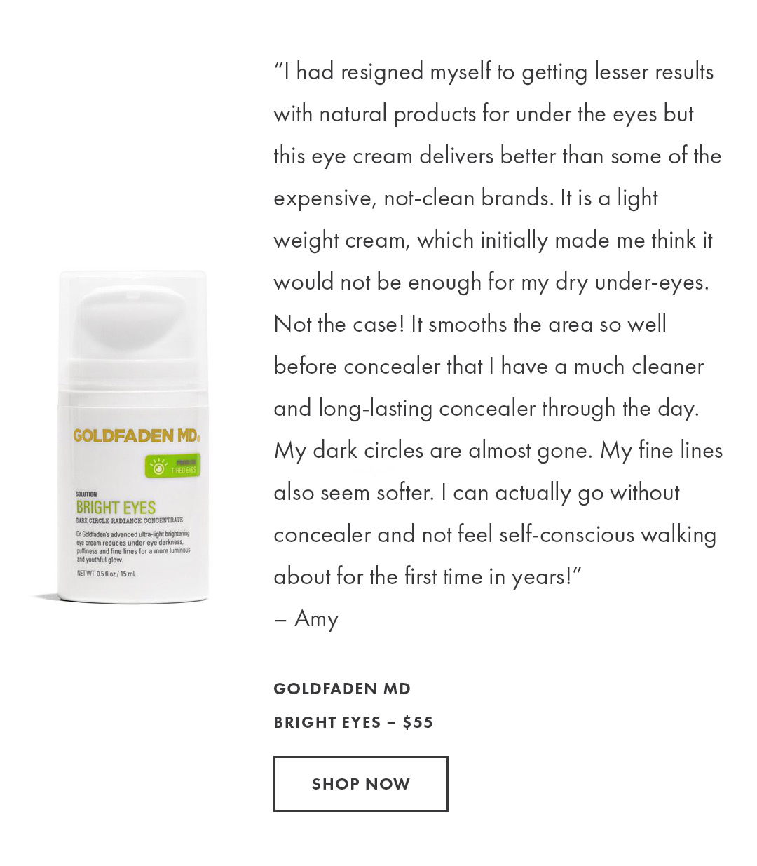 Shop the Bright Eyes Dark Circle Radiance Concentrate by Goldfaden MD