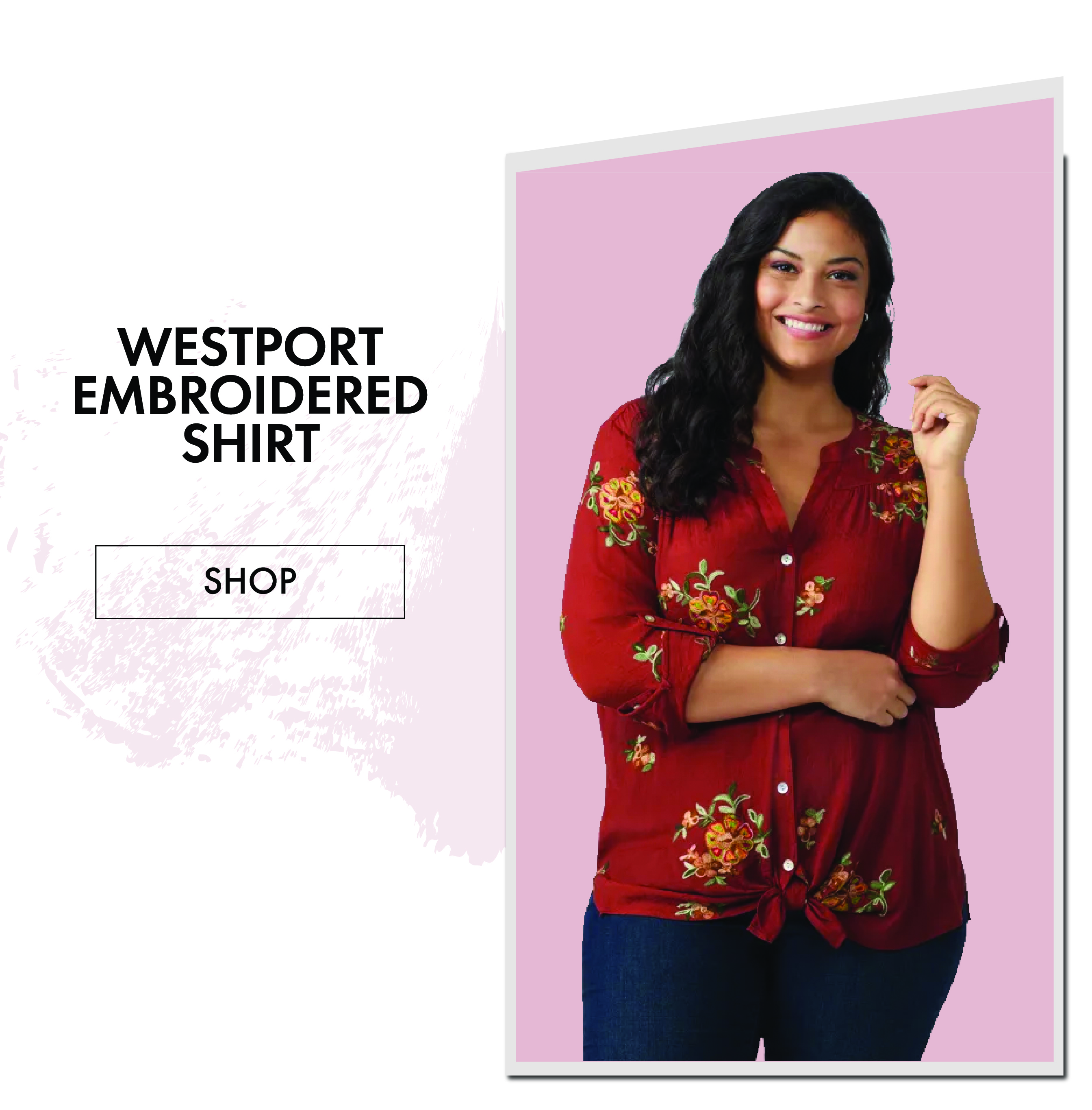 Westport Embroidered Shirt in Plus