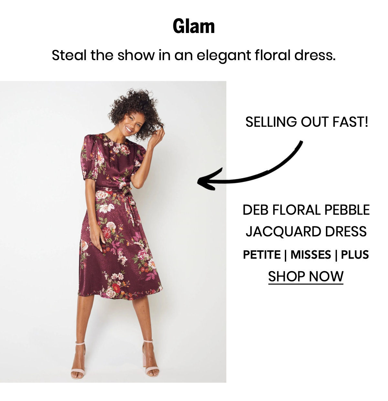 "Shop the ""Deb Floral Pebble Jacquard Dress"""