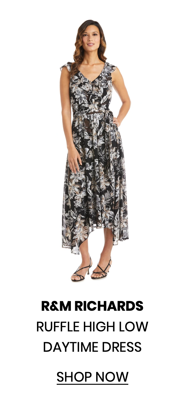 """Shop the """"Ruffle High Low Daytime Dress"""" by R&M Richards"""