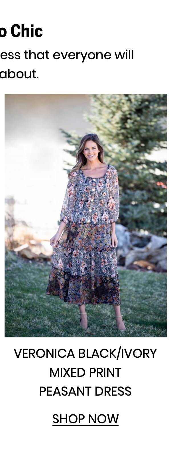 "Shop the ""Veronica Blac/Ivory Mixed Print Peasant Dress"""