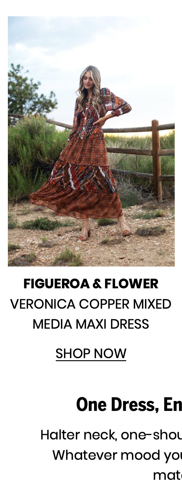 "Shop the ""Veronica Copper Mixed Media Maxi Dress"" by Figueroa & Flower"