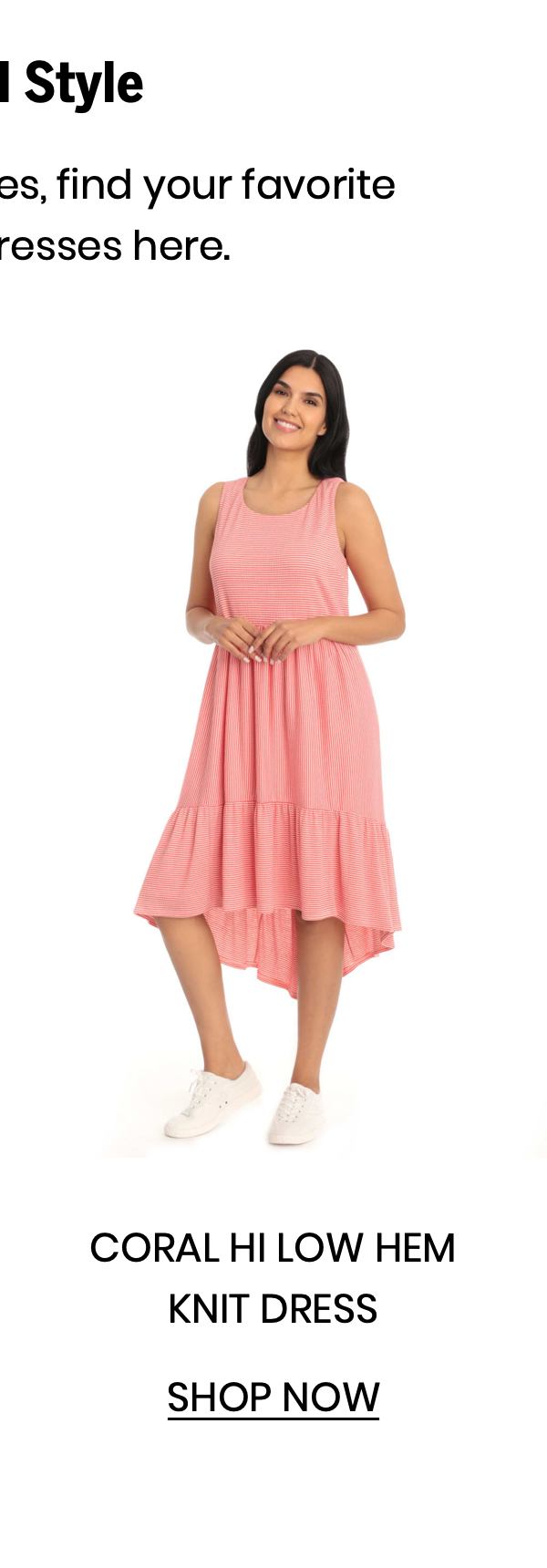 "Shop the ""Coral Hi Low Hem Knit Dress"""