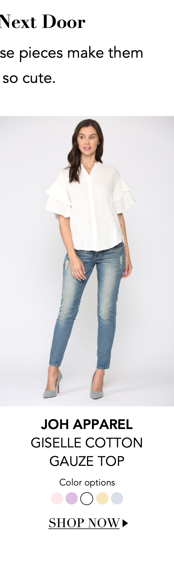 """Shop the """"Giselle Cotton Gauze Top"""" by Joh Apparel"""
