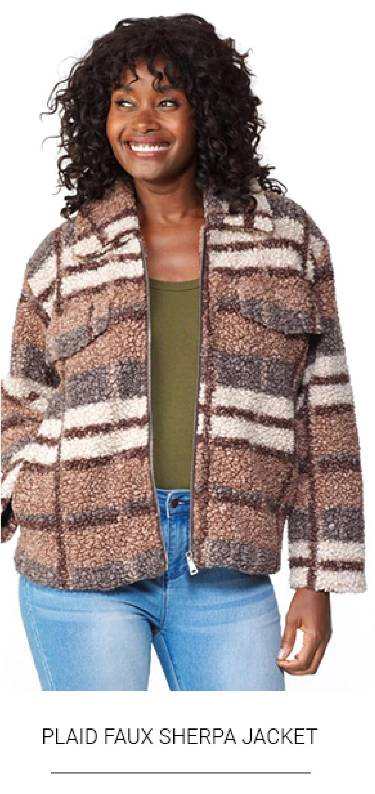 Plaid Faux Sherpa Jacket