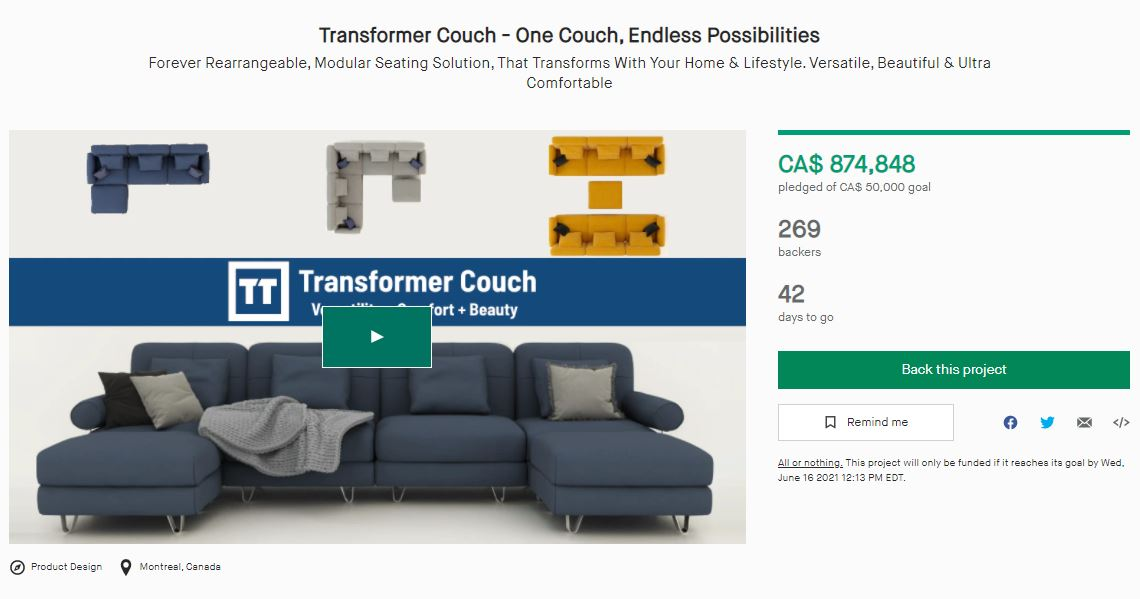 Transformer Couch Kickstarter!