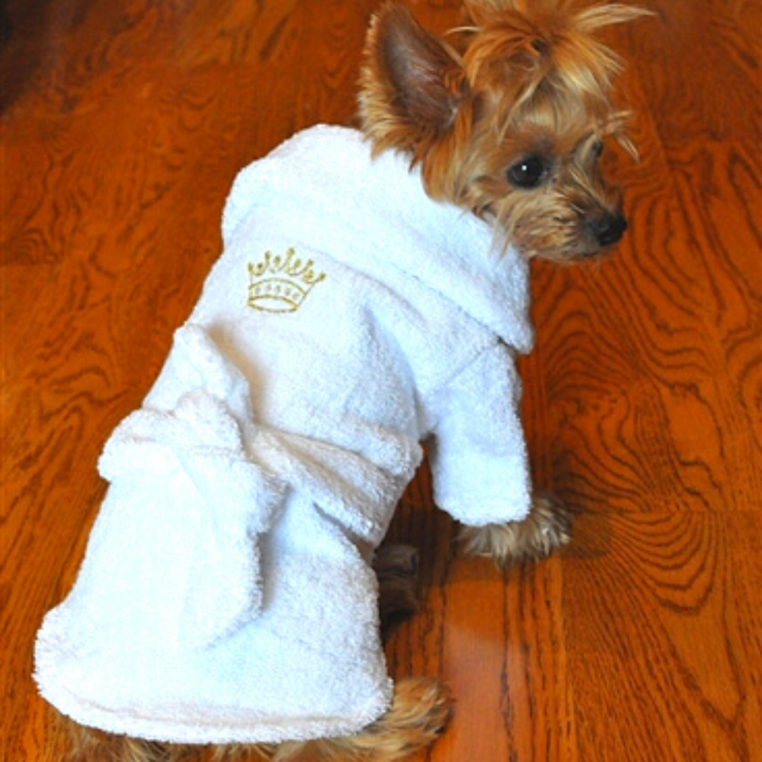 Cute White Gold Crown Terrycloth Bathrobe
