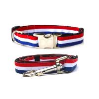 Patriotic Red, White & Blue Dog Collar & Leash