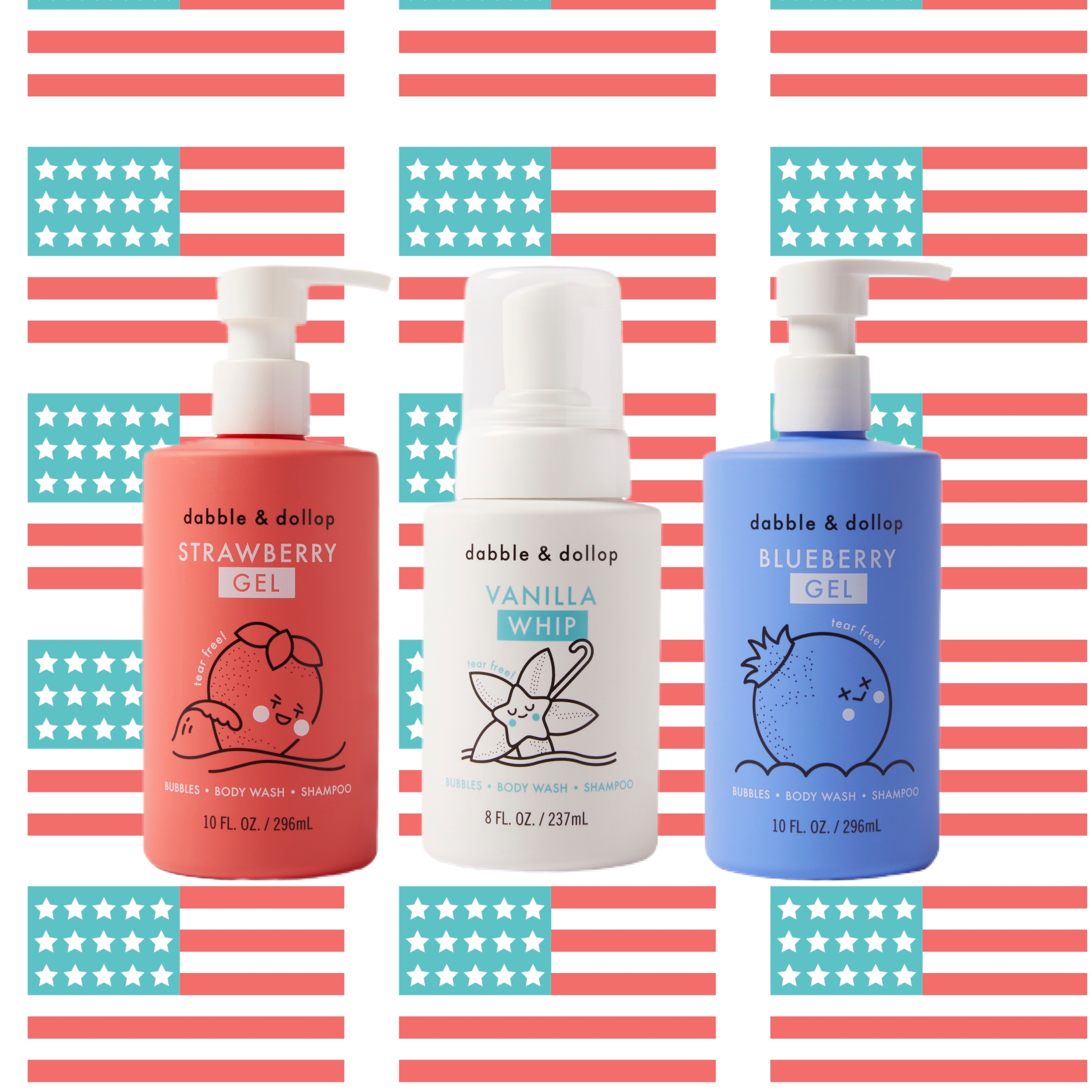red white and blue bottles of shampoo against a graphical backdrop of American flags