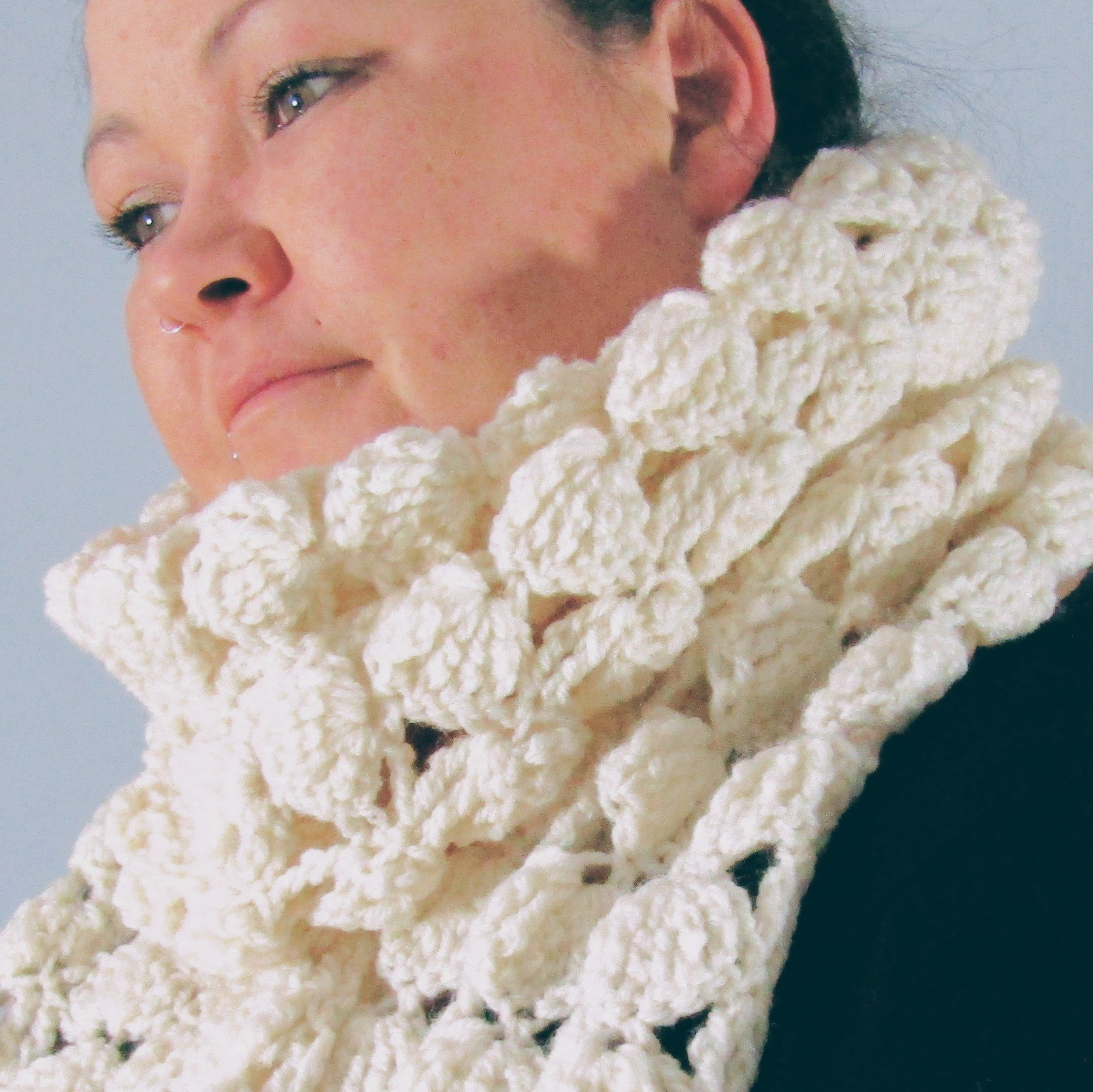 Winter White Crochet Scarf by Shoreline food and crafts Co. Mayo - Parad e- Handmade
