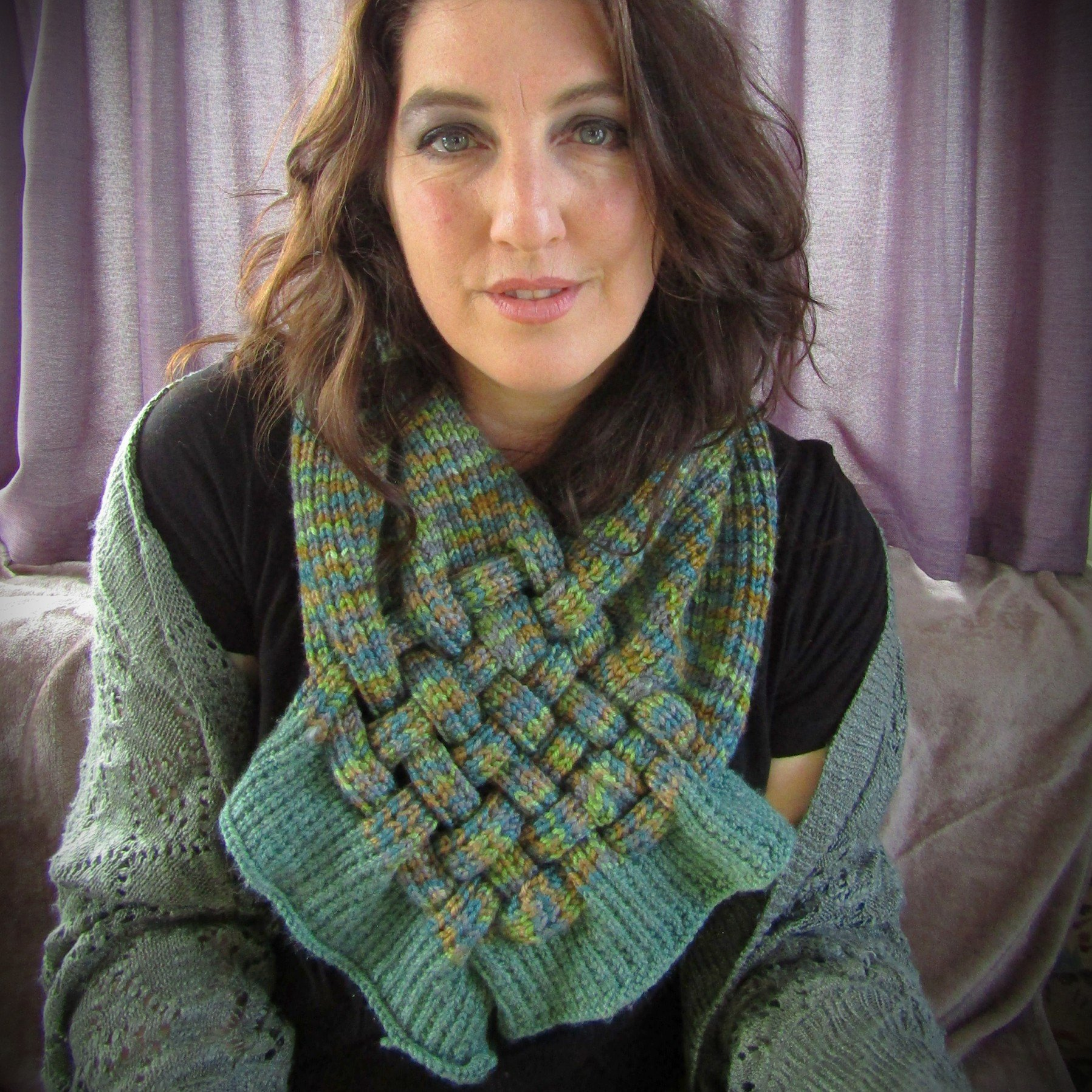 Green Lattice Chest Warmer/Neck Piece by Shoreline food and crafts Co. Mayo - Parade- Handmade