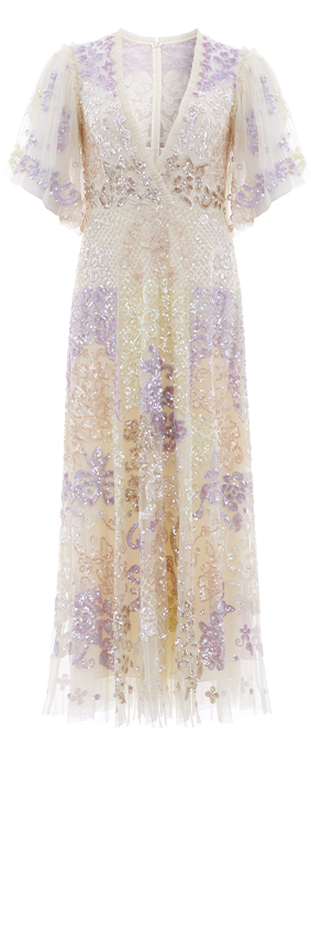 Eliza Sequin Ankle Length Gown in Champagne