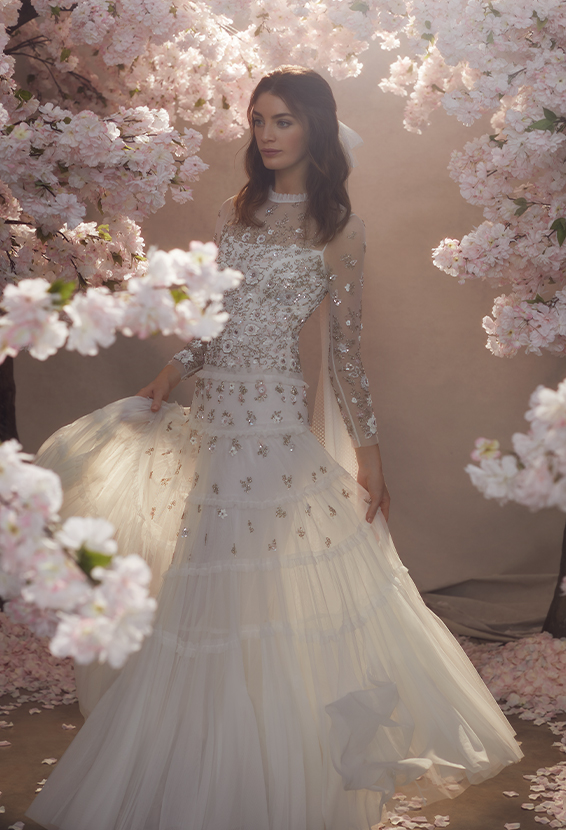 Fallen Petals Long Sleeved Bridal Gown