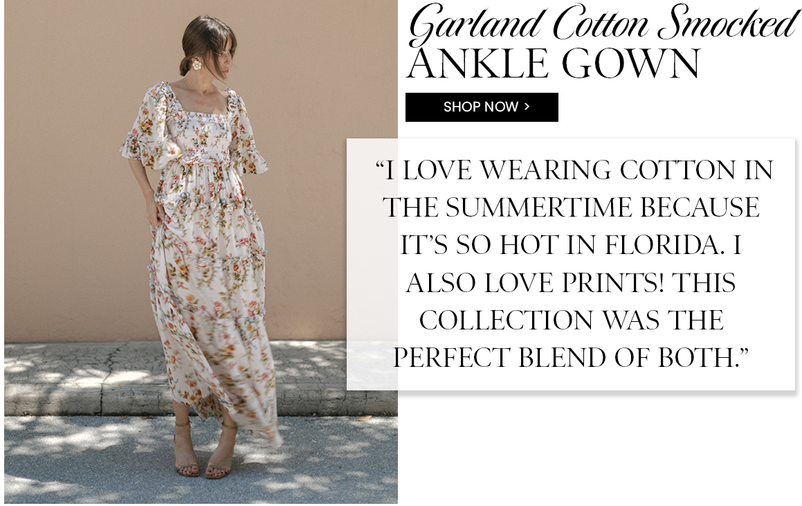Garland Cotton Smocked Ankle Gown
