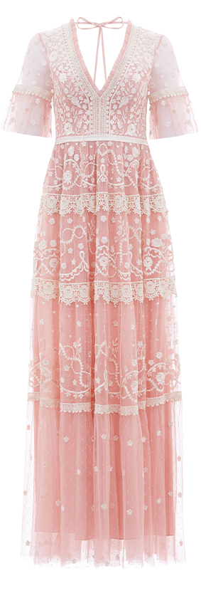 Midsummer Lace Gown in Desert Pink