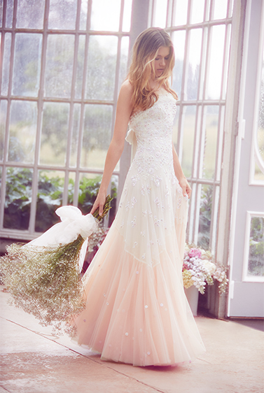 Pearl Rose Cami Bridal Gown in Tinted Pink