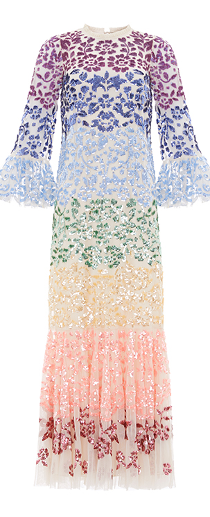 Chakra Sequin Long Sleeve Gown in Champagne