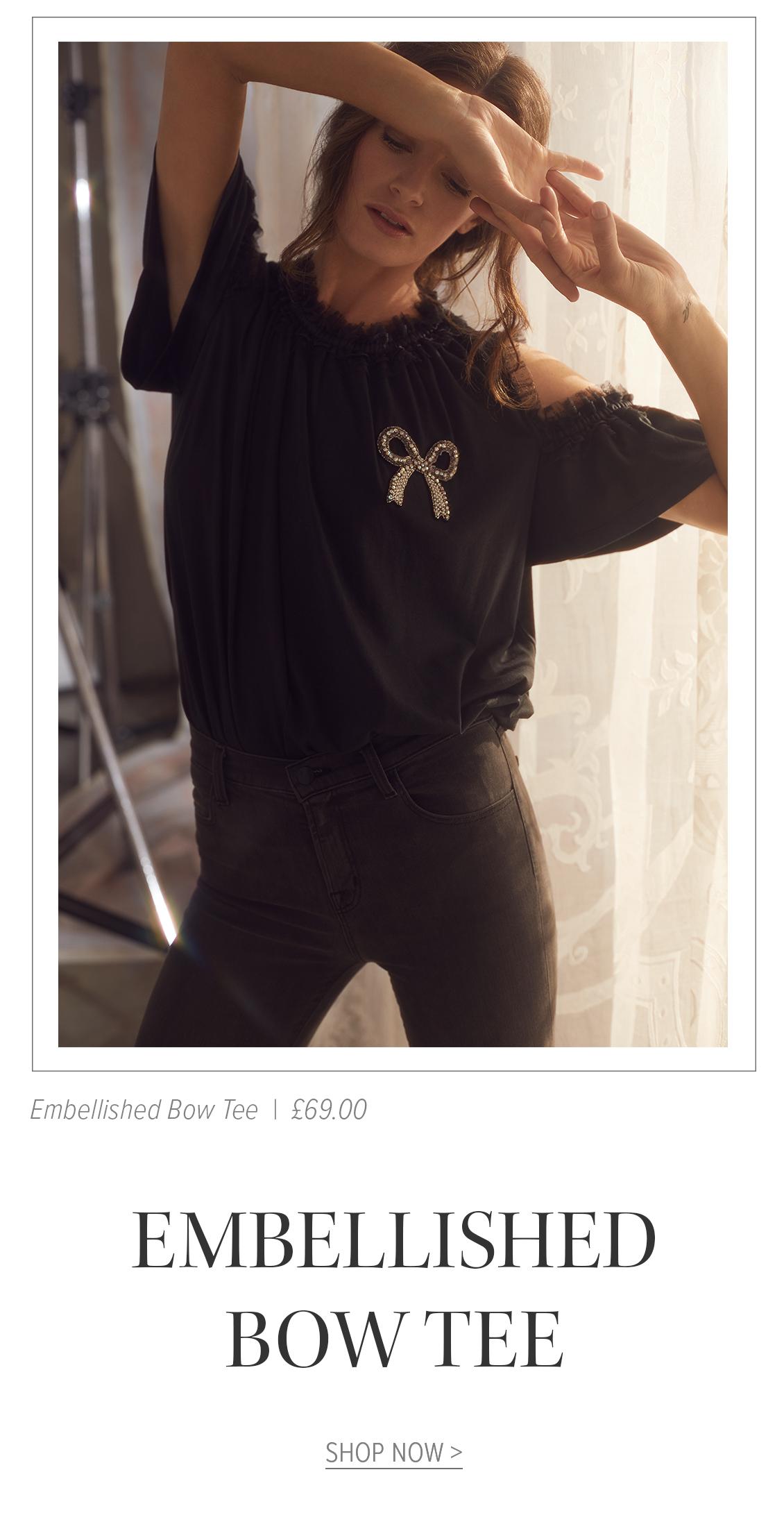 Embellished Bow Tee