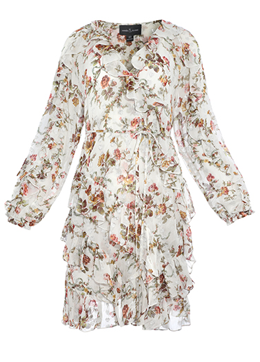 Garland Petal Wrap Dress in Ivory