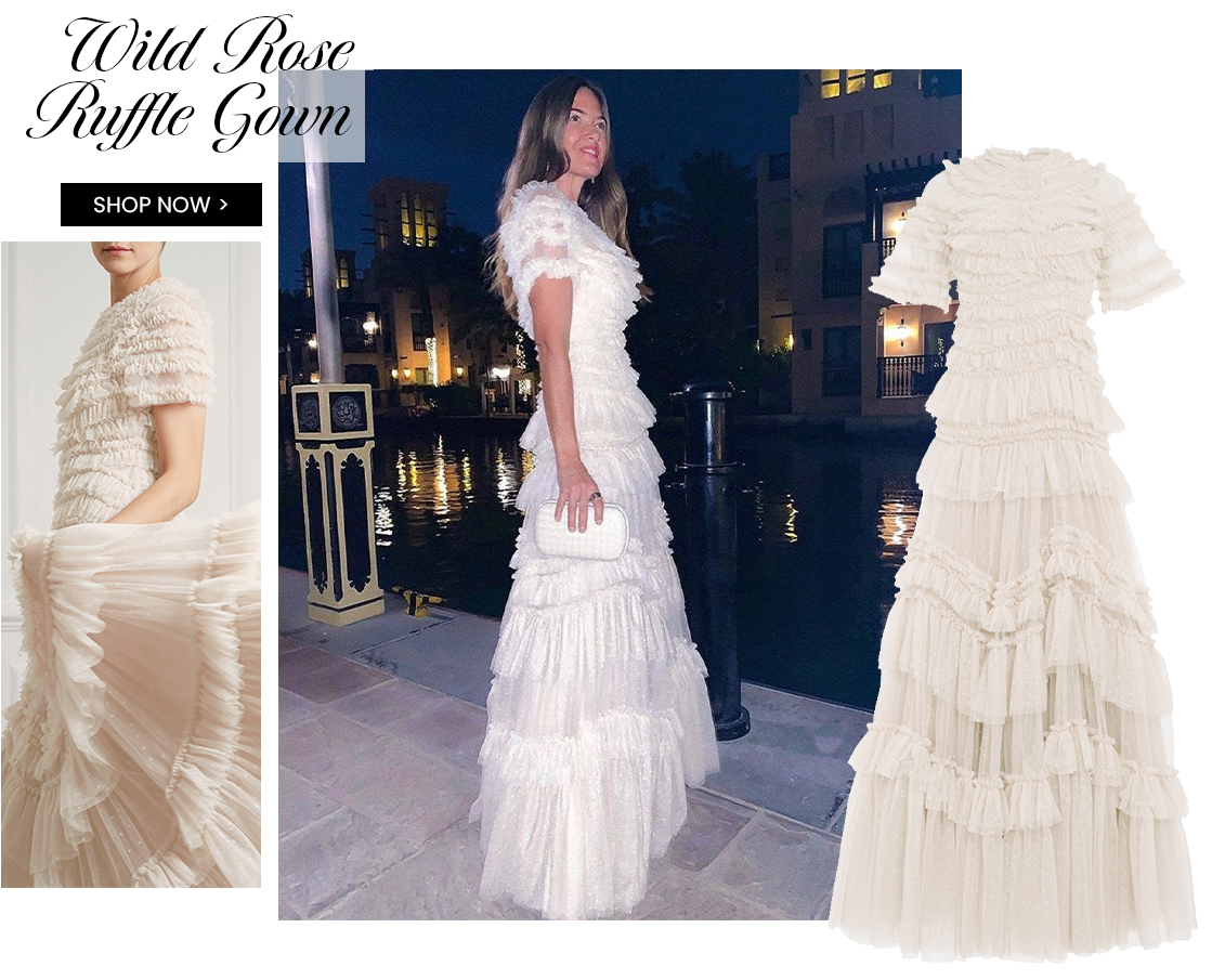 Wild Rose Ruffle Gown in Champagne