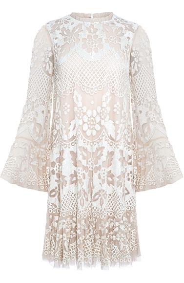 Snowdrop Mini Dress in Pearl Rose / Chalk