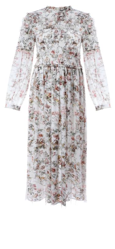 Garland Smocked Midi Dress in Ivory