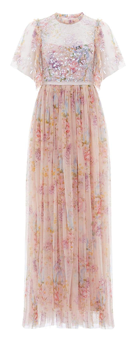 Floral Diamond Bodice Maxi Dress in Topaz Pink