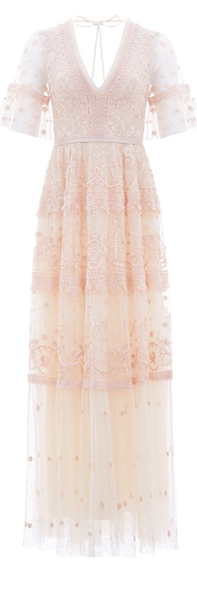 Midsummer Lace Gown in Champagne / Ballet Slipper