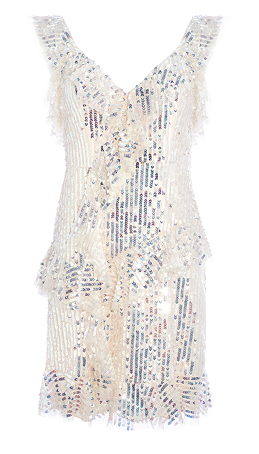 Scarlett Sequin Mini Dress in Champagne / Silver