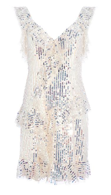 Scarlett Sequin Mini Dress in Champagne / Silver