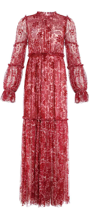 Anya Embellished Gown in Cherry Red