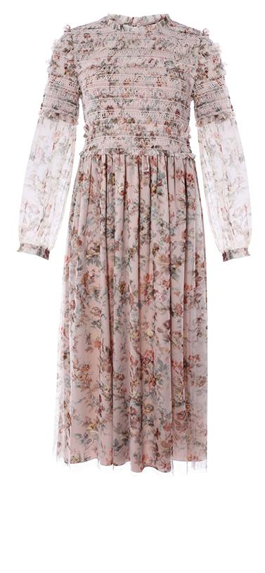Garland Smocked Midi Dress in Rose Quartz