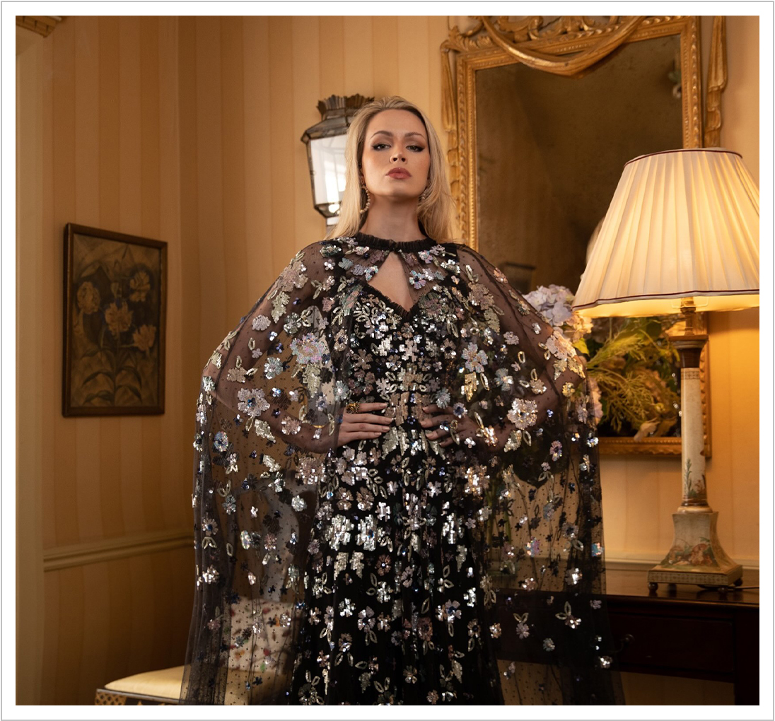Wildflower Sequin Midaxi Cape in Graphite