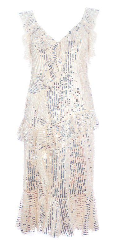 Scarlett Sequin Midi Dress in Champagne / Silver