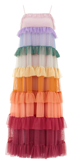 Chakra Ruffle Sun Dress in Rainbow