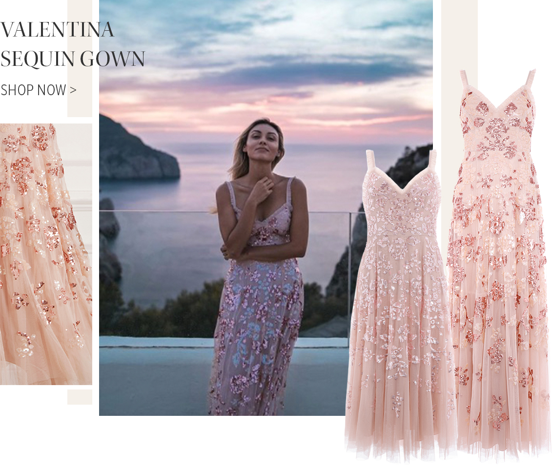 Valentina Sequin Gown in Rose Quartz