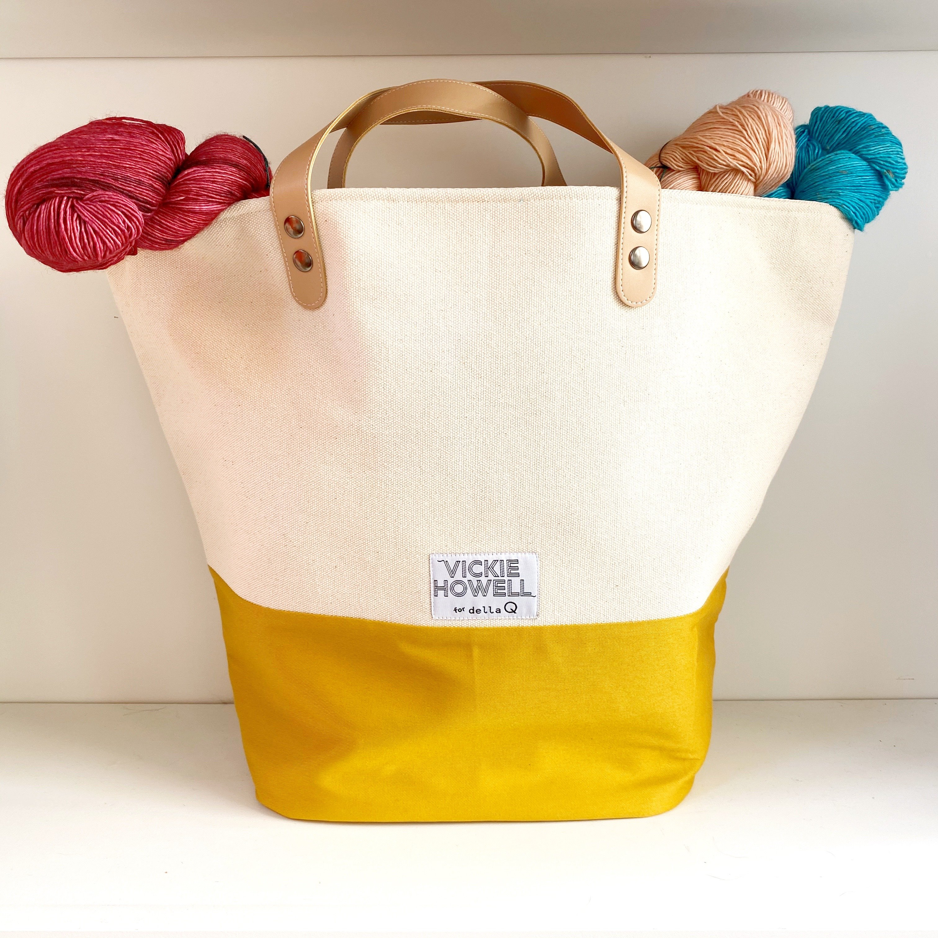 """Vickie Howell for DellaQ Large Tink Tote in """"Mustard"""""""