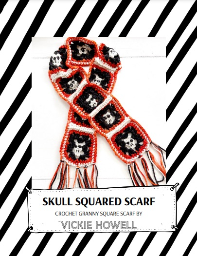 Shop the Skull Squared Scarf Crochet Granny Scarf Pattern by Vickie Howell