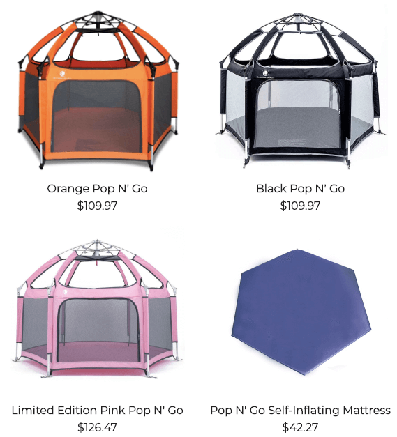 pop n go playpens with self inflating mattress