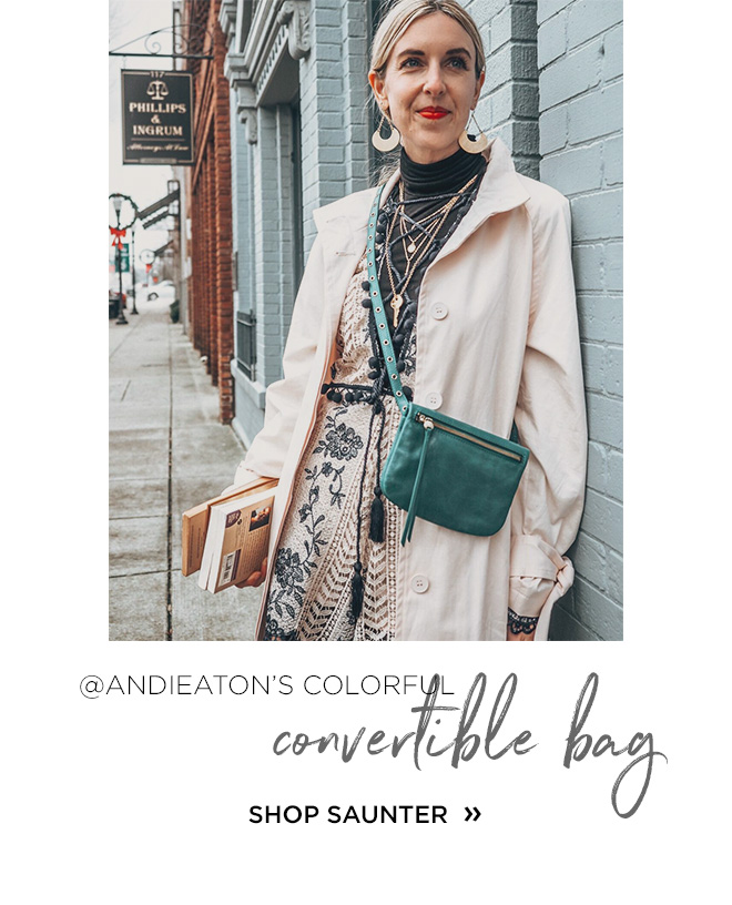 @AndiEaton's colorful convertible bag, shop saunter!