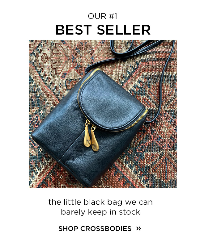 Our #1 Best Seller! The Little Black Bag we can barely keep in stock! Shop the Fern and other Crossbody styles!