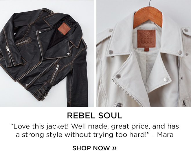 """Rebel Soul - Love this jacket! Well made, great price, and had a strong style without trying too hard!"""" -Mara"""
