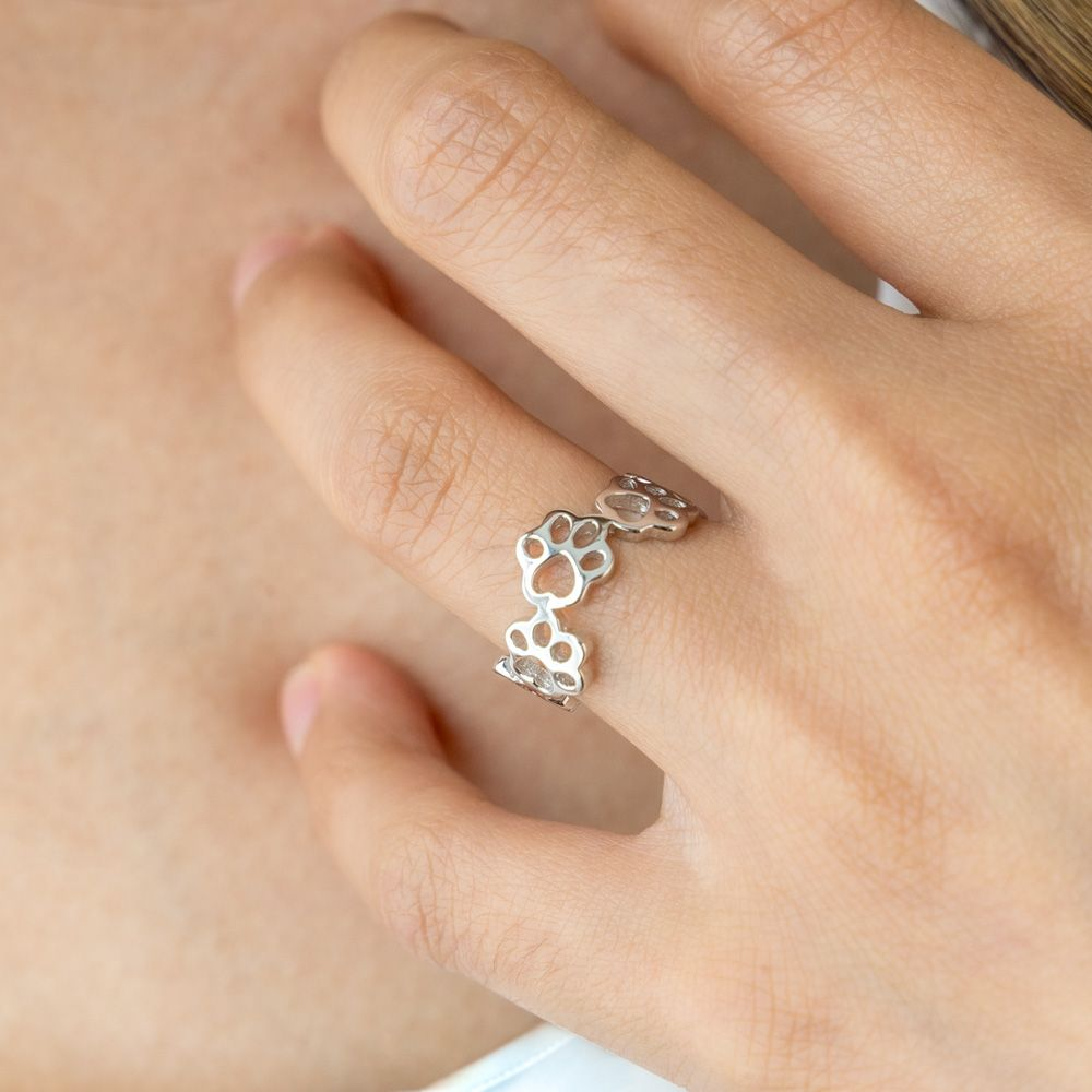 Paw Prints on My Heart- White Gold-Plated Sterling Silver Ring