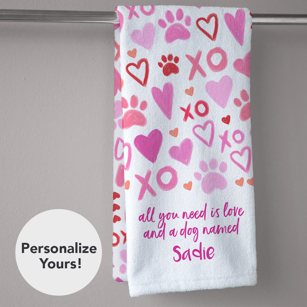 XOXO All You Need Is Love And A Dog Personalized Hand Towel
