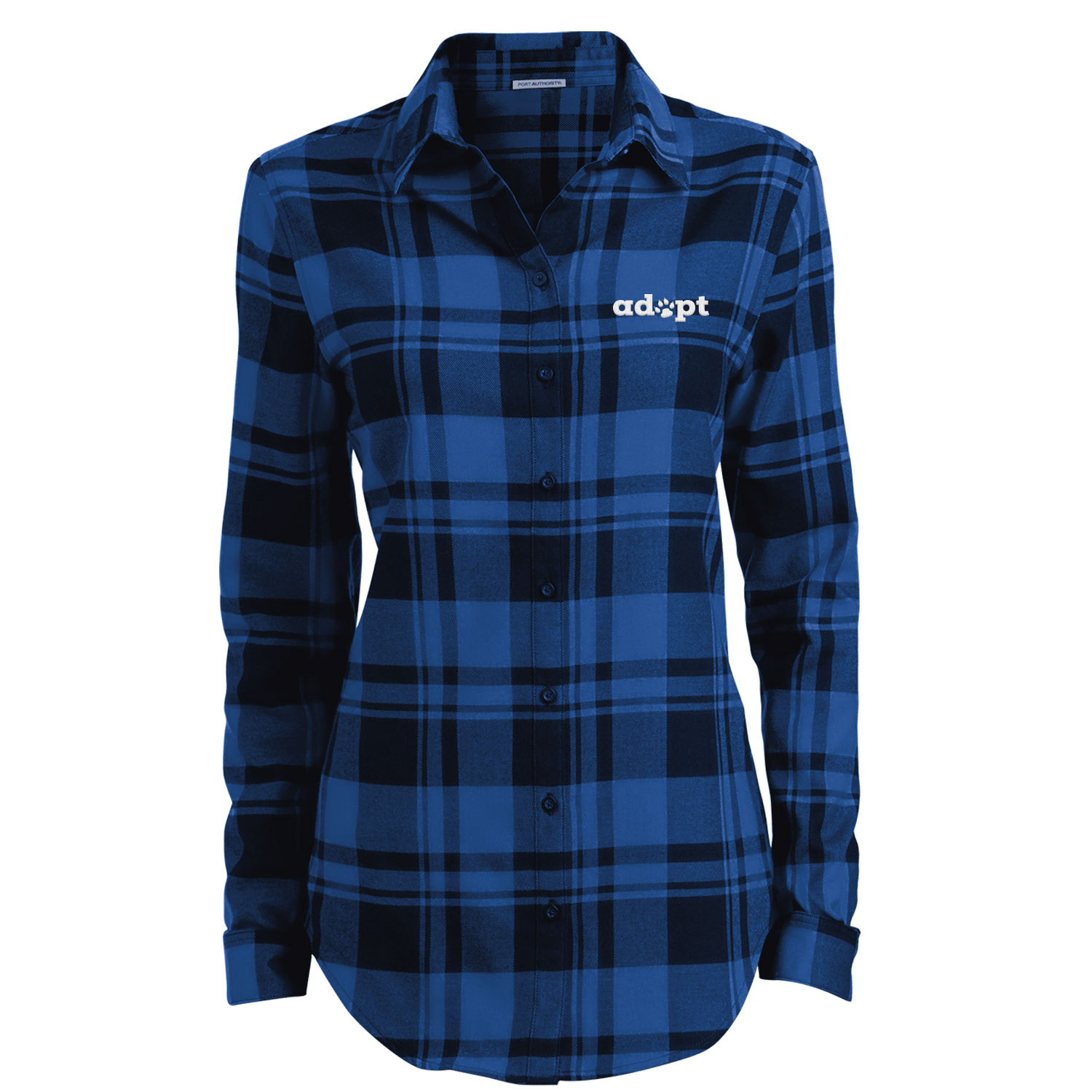 Adopt Paw Embroidered Ladies' Flannel Shirt