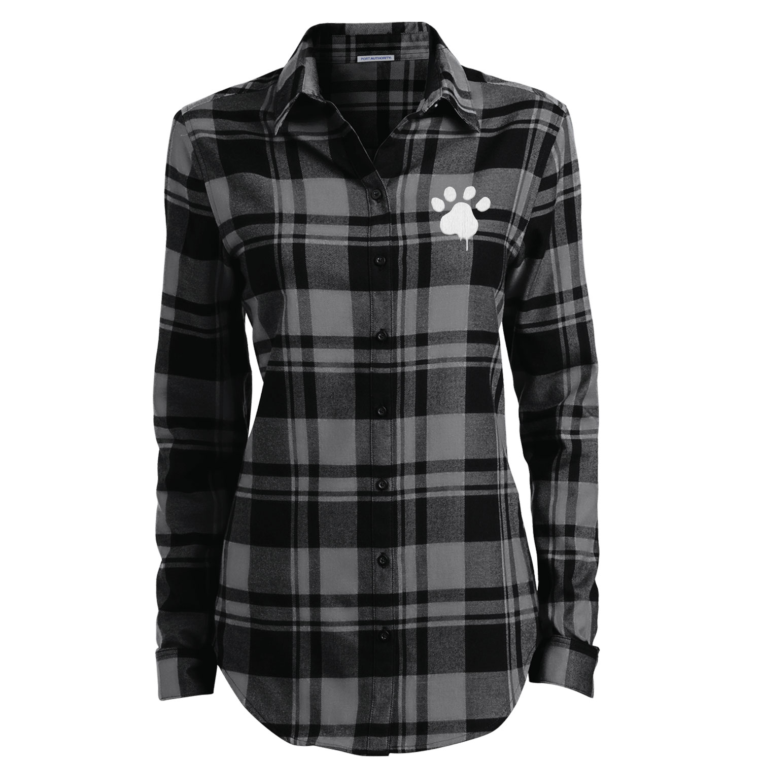 Watercolor Paw Embroidered Ladies' Flannel Shirt