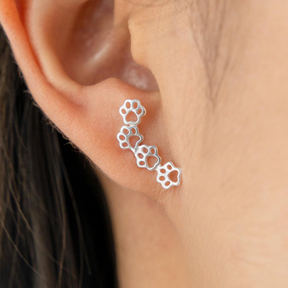 Paw Prints on My Heart Earrings- Sterling Silver 925