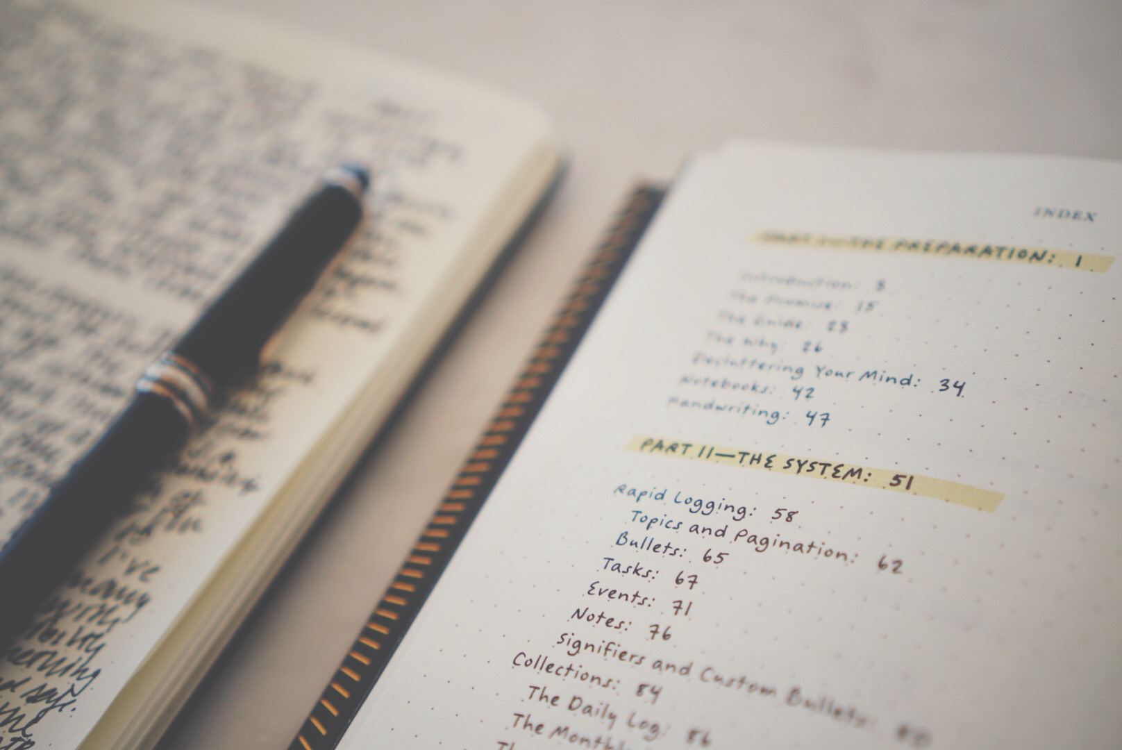 image of an open bullet journal next to an open copy of the Bullet Journal Method
